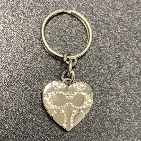 Coach silver heart keychain w/logo & diamond look